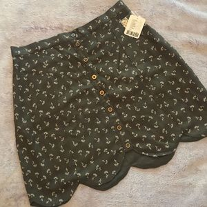 Urban Outfitters Olive Floral Front Button Skirt